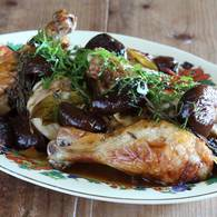Chicken with pickled figs lemon and rosemary