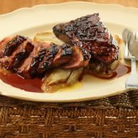 Duck breast with plum glaze