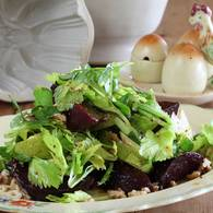 Beetroot pear and celery heart salad with vino cotto