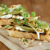 Fennel and verjuice bruschetta