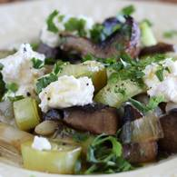 Warm salad of white bean mushroom leek and ricotta