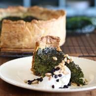 Kale  preserved lemon and pine nut tart