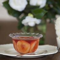 Sangiovese jelly with poached dried nectarines