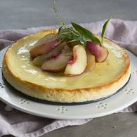 Ricotta cheesecake with grilled white nectarines